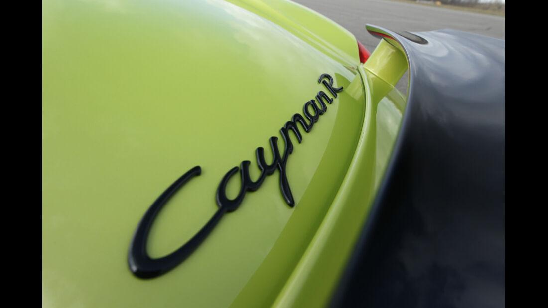 Porsche Cayman R, Detail, Spoiler, Schriftzug