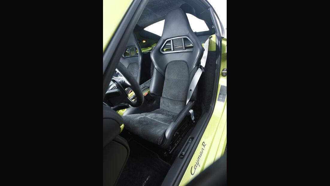 Porsche Cayman R, Innenraum, Detail, Fahrersitz