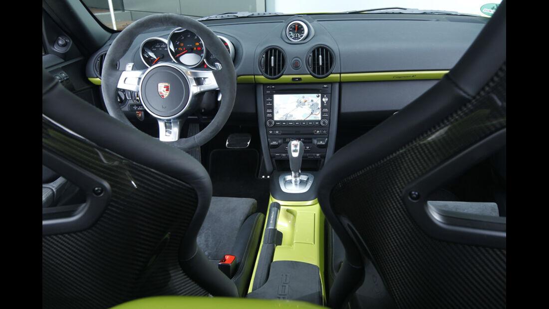 Porsche Cayman R, Innenraum, Detail, Lenkrad, Cockpit