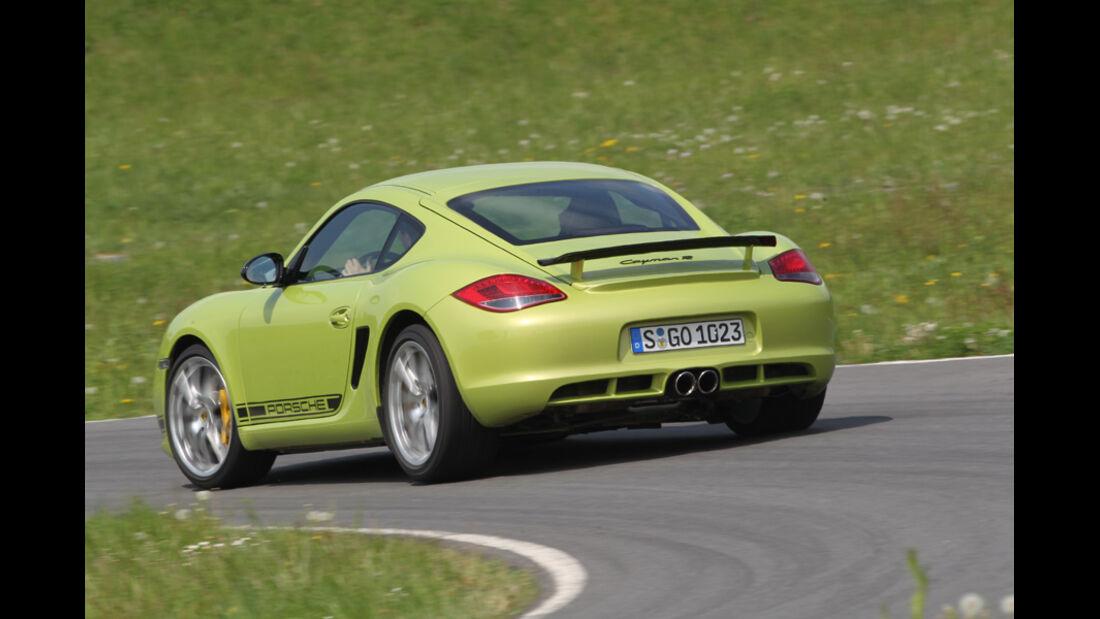 Porsche Cayman R, Rückansicht, Fahrt, Kurve