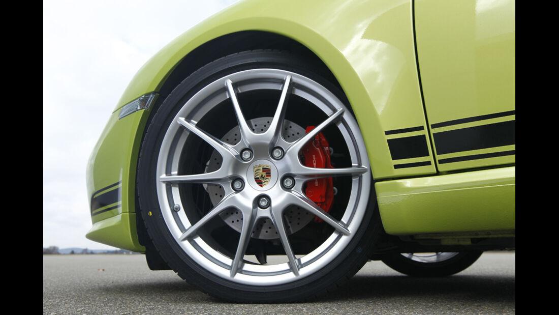 Porsche Cayman R, Seitenansicht, Detail, Vorderrad, Felge