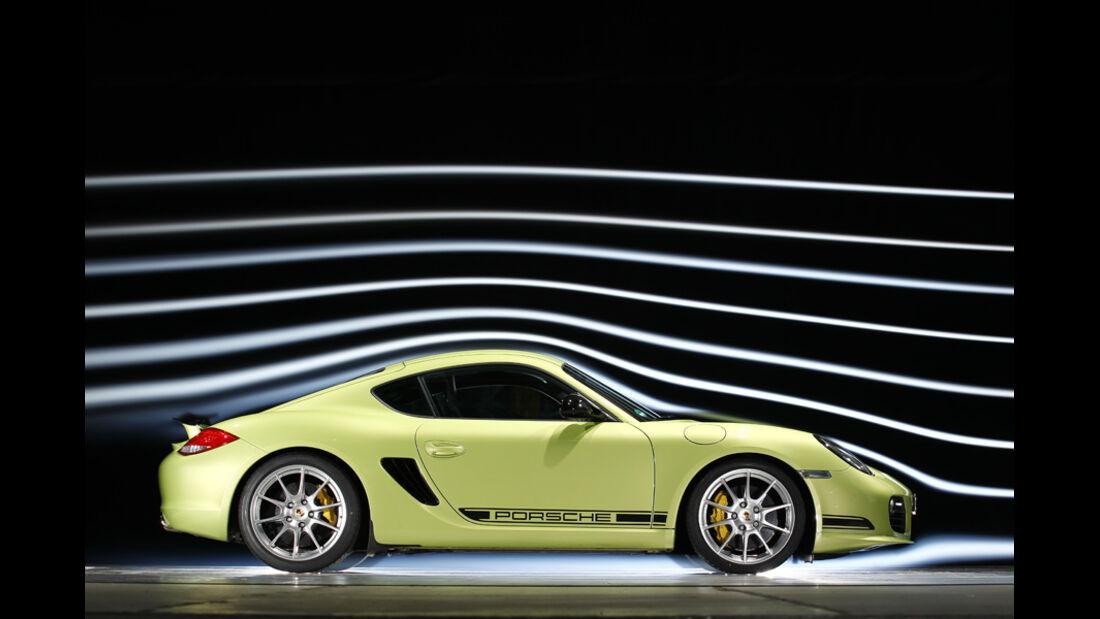 Porsche Cayman R, Seitenansicht, Windkanal