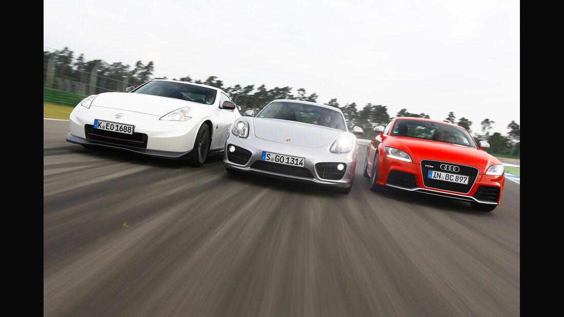 Porsche Cayman S, Audi TT RS, Nissan 370Z Nismo, Frontansicht