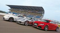 Porsche Cayman S, Audi TT RS, Nissan 370Z Nismo, Seitenansicht