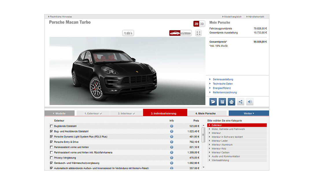 Porsche Macan Turbo, Konfigurator, Exterieur