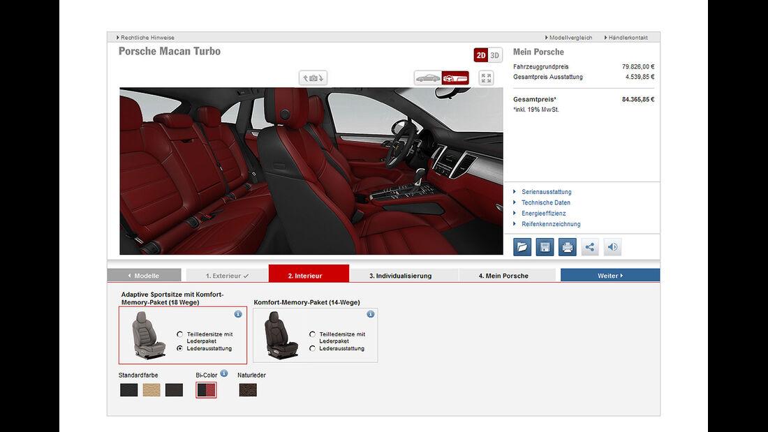Porsche Macan Turbo, Konfigurator, Innenraum