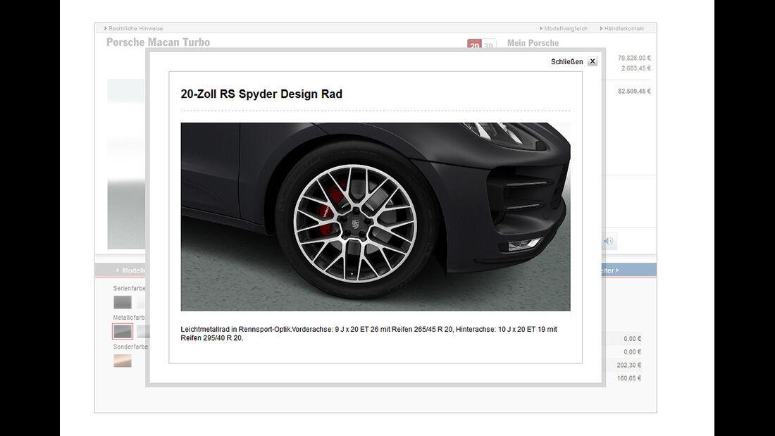 Porsche Macan Turbo, Konfigurator, Räder, Felgen