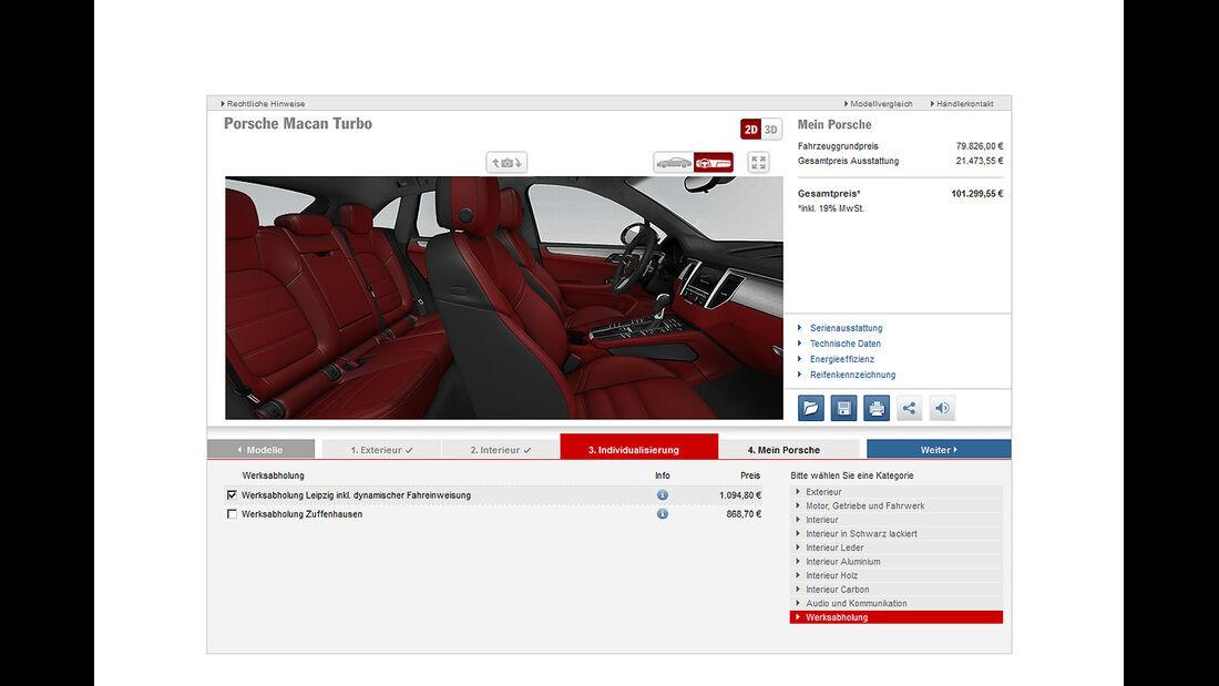 Porsche Macan Turbo, Konfigurator, Werksabholung, Innenraum