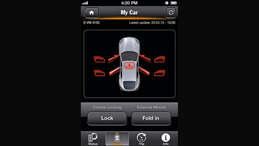 Porsche Panamera, App, Fernsteuerung