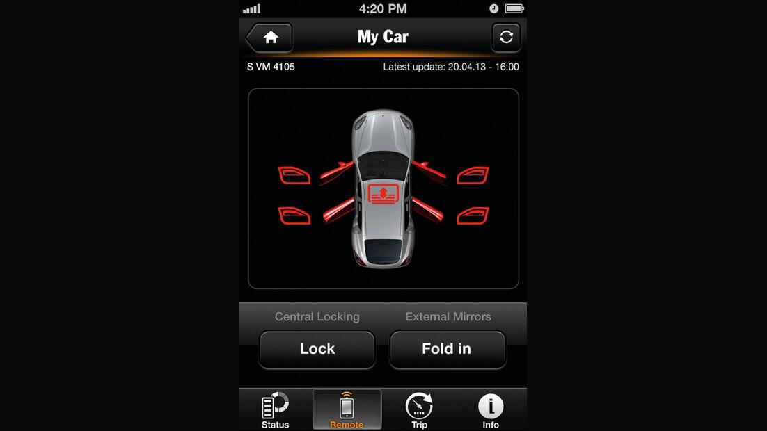 Porsche Panamera S E-Hybrid, App, Abschließen