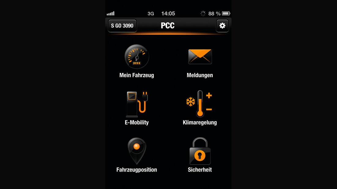 Porsche Panamera S E-Hybrid, App, Temperatur