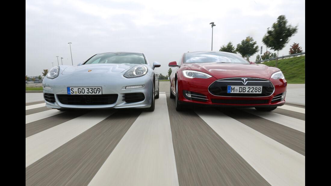 Porsche Panamera S E-Hybrid, Tesla Model S, Frontansicht