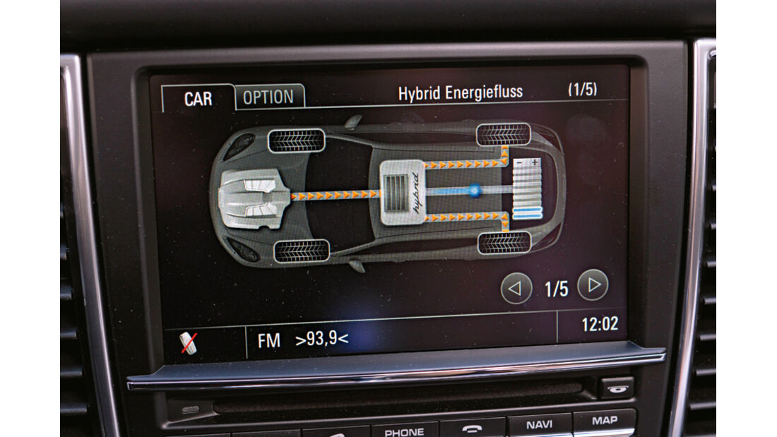 Porsche Panamera S Hybrid, Anzeige, Bildschirm, Detail, Kraftflussanzeige