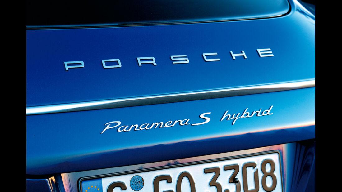 Porsche Panamera S Hybrid, Schriftzug, Emblem, Heck