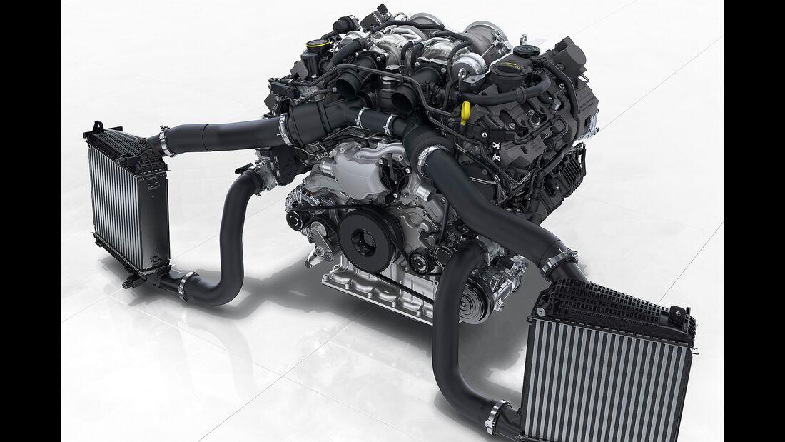 Porsche Panamera Turbo: 4,0-Liter-V8-Biturbomotor mit Ladeluftkühlern