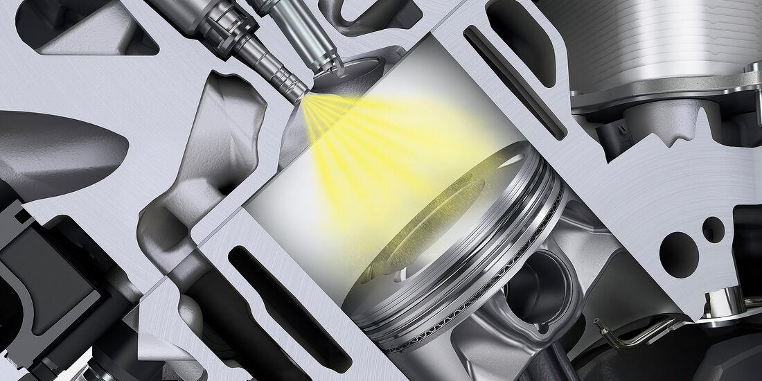 Porsche Panamera Turbo: Benzindirekteinspritzung mit zentraler Injektorlage