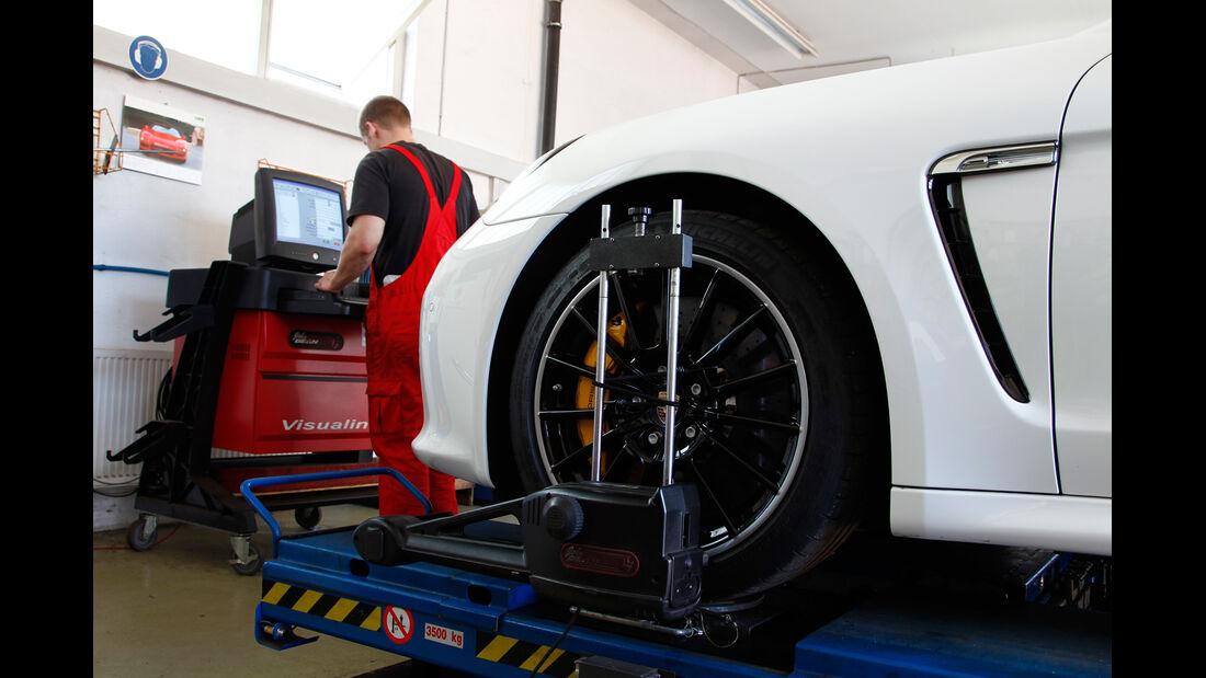 Porsche Panamera Turbo S, Vermessung, Achsgeometrie