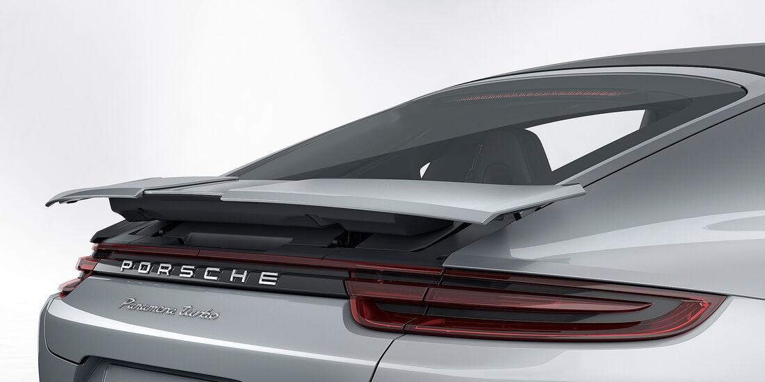Porsche Panamera Turbo: adaptiver 4-Wege-Heckspoiler in der Eco-Stellung
