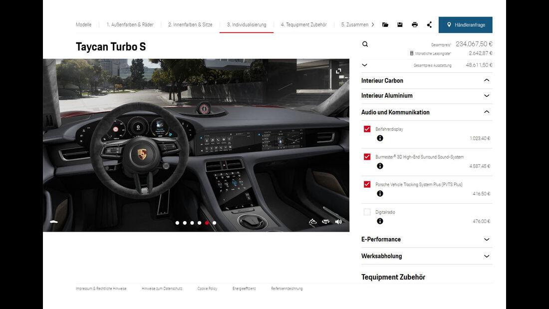 Porsche Taycan Turbo S Konfigurator Vollausstattung