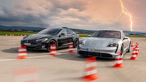 Porsche Taycan Turbo S, Tesla Model S P100D 4X4, Exterieur