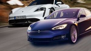 Porsche Taycan Turbo S Tesla Model S Vergleich Collage