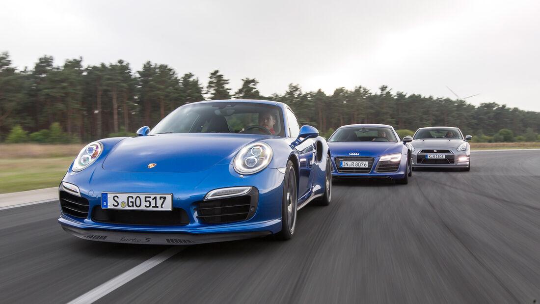 Porsche Turbo S, Nissan GT-R, Audi R8