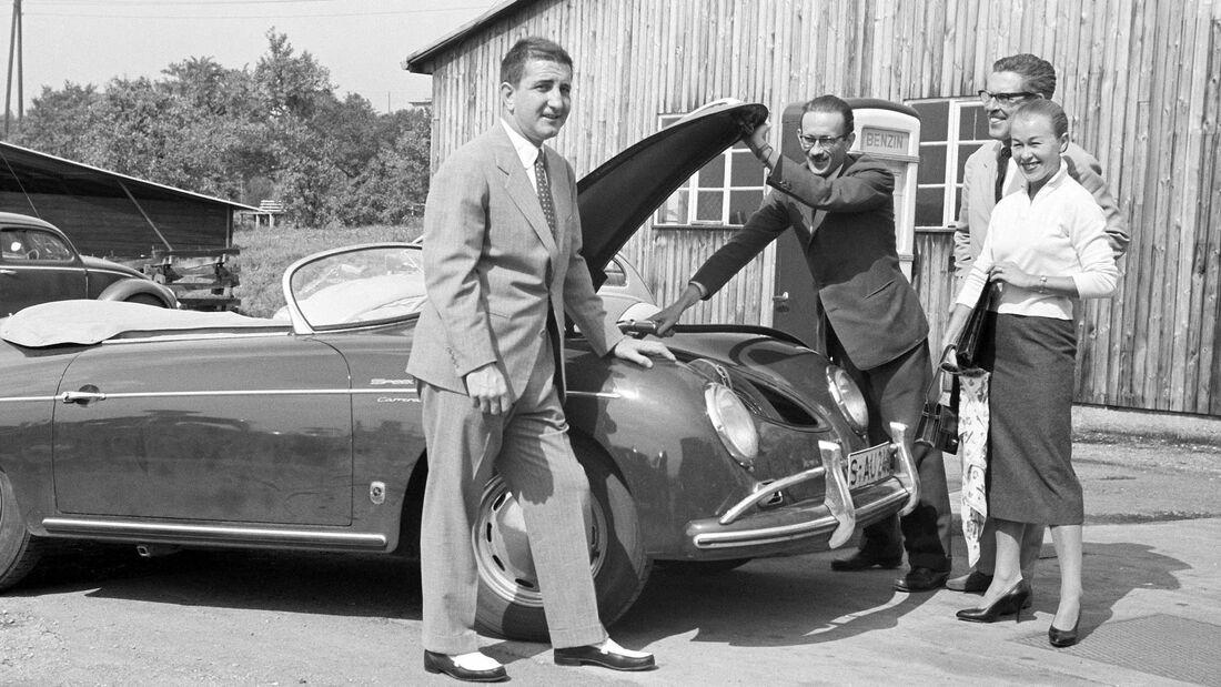 Porsche-Werksabholung 356 Carrera Speedster Frankenberg v. Hanstein 1957
