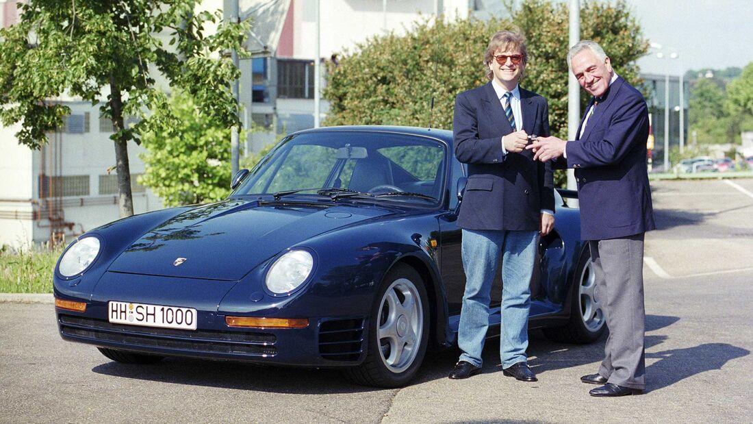 Porsche-Werksabholung Harald Wagner Justus Frantz 959 1988