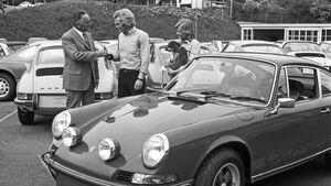 Porsche-Werksabholung Harald Wagner Uli Hoeneß 911 Carrera RS 1973