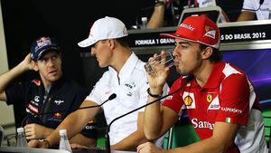 Pressekonferenz GP Brasilien 2012 Alonso, Schumacher, Vettel