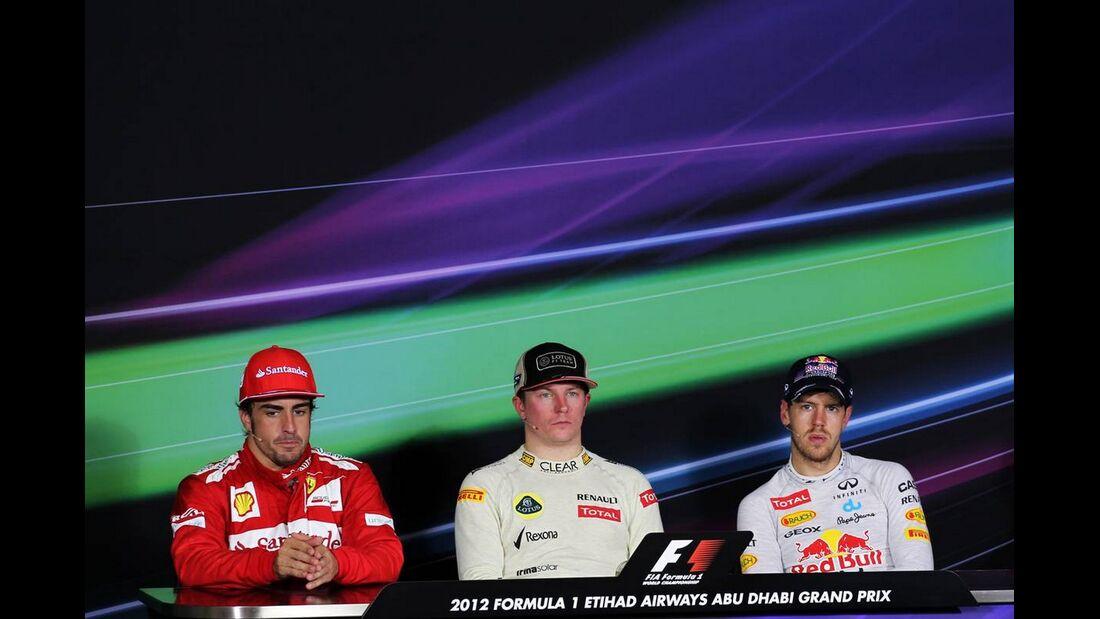 Pressekonferenz Sebastian Vettel Fernando Alonso Kimi Räikkönen  - Formel 1 - GP Abu Dhabi - 04. November 2012