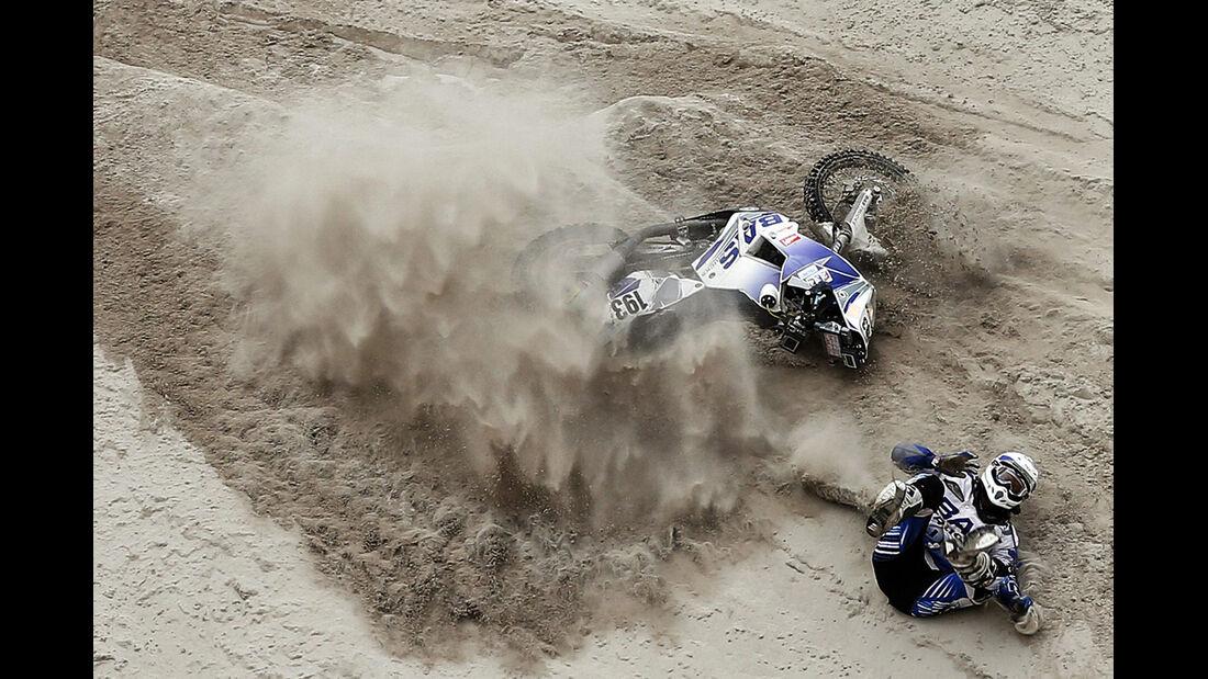 Rallye Dakar 2013 Motorrad-Crash