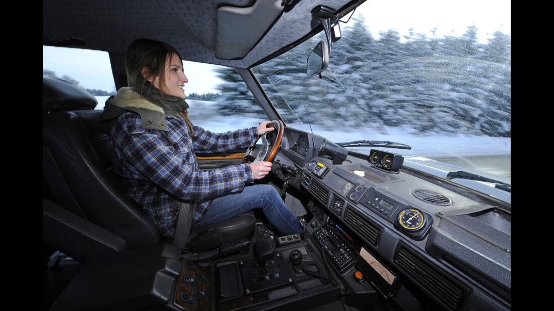 Range Rover 4.2, Schnee Detail, Cockpit, Melanie