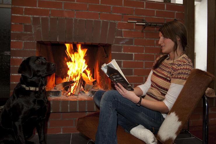Range Rover 4.2, Schnee, Malanie mit Hund Anna, Kamin