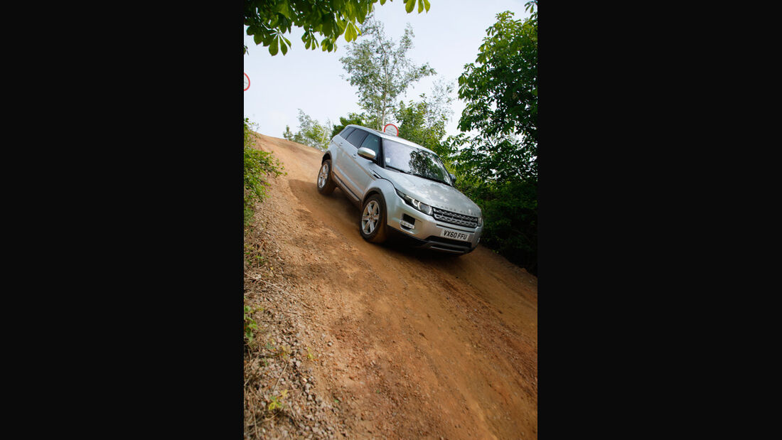 Range Rover Evoque, Frontansicht, Gelände, Abhang, abwärts