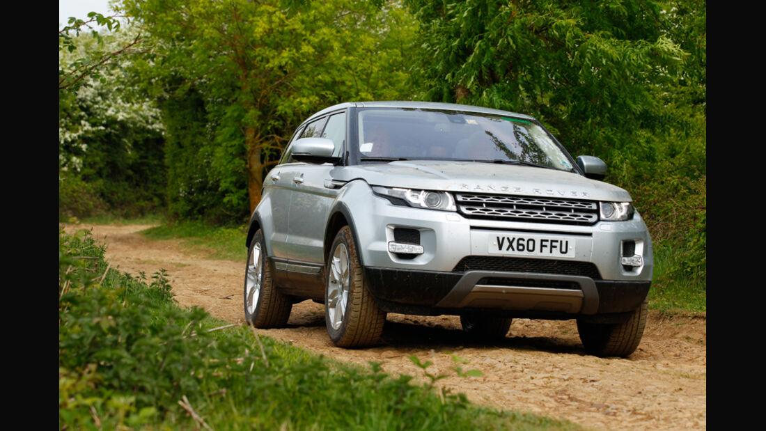 Range Rover Evoque, Frontansicht, Gelände, Waldweg