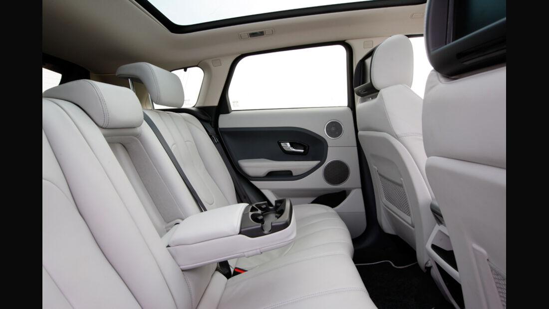Range Rover Evoque, Innenraum, Fahrersitz, Armlehne, Getränkehalter