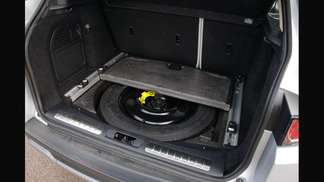 Range Rover Evoque, Stauraum, Ersatzrad