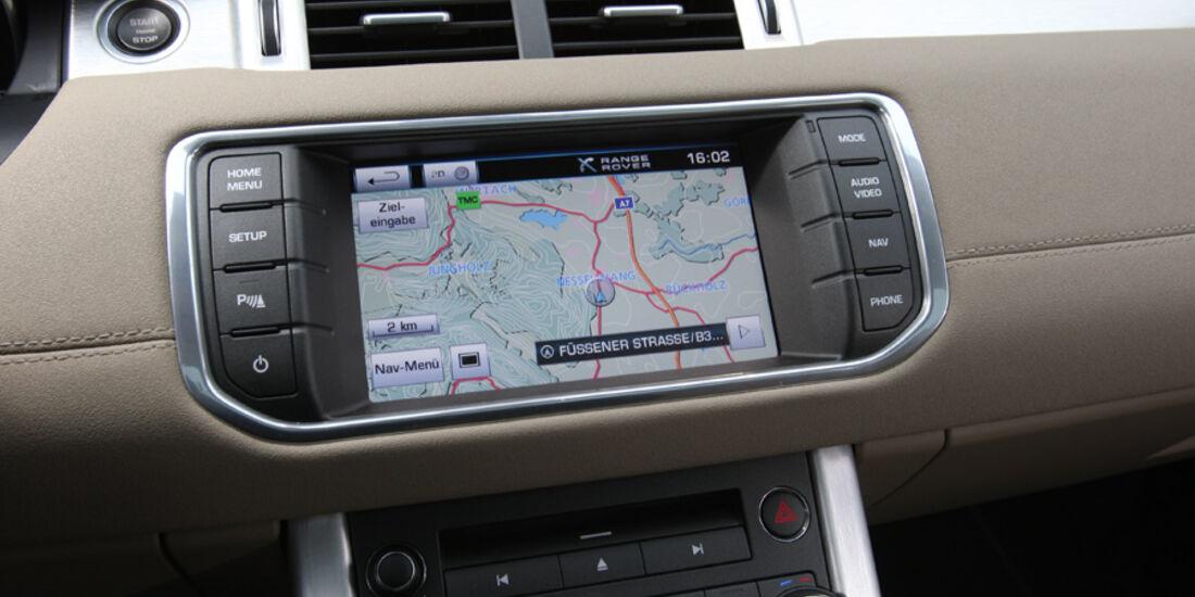 Range Rover Evoque TD4 Pure, Navi-Display