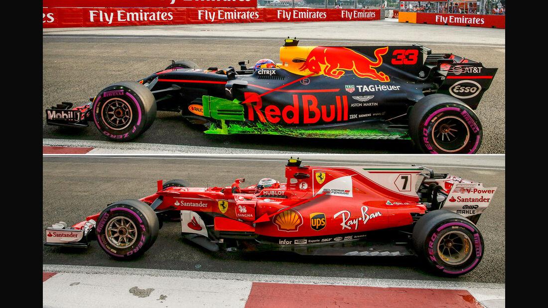 Red Bull vs. Ferrari - Technik - GP Singapur 2017