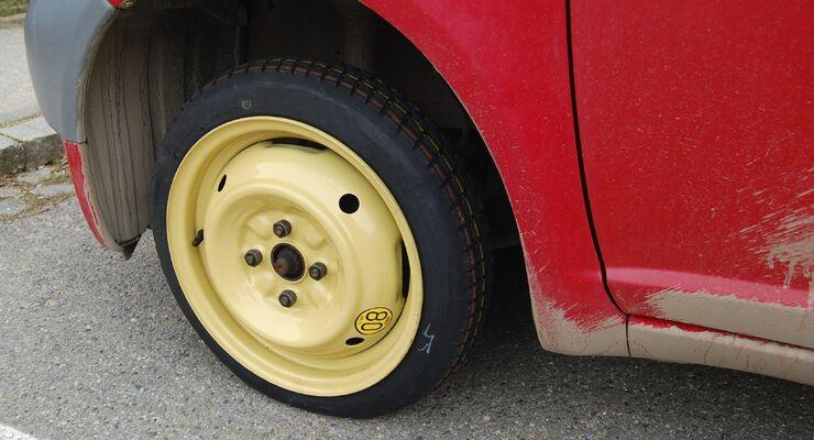 Reifen für Noträder weisen spezielle Dimensionen auf.