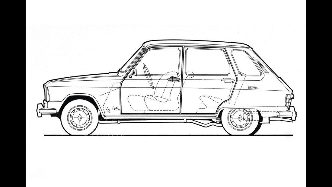 Renault 6, Zeichnung