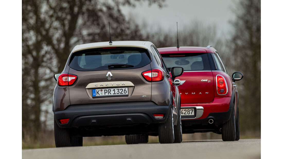 Renault Captur dCi 90, Mini One D Countryman, Heckansicht