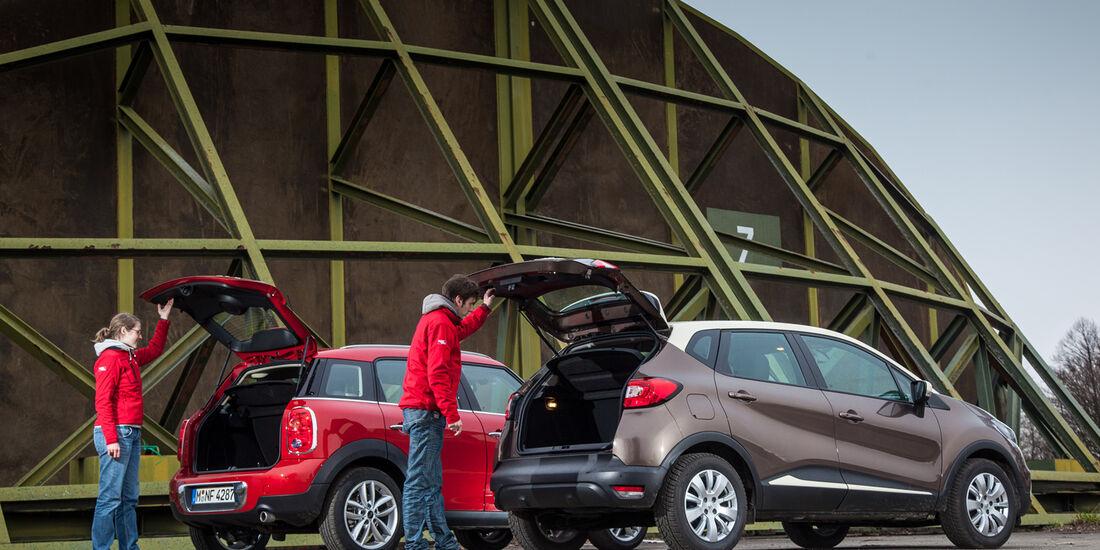 Renault Captur dCi 90, Mini One D Countryman, Heckklappe