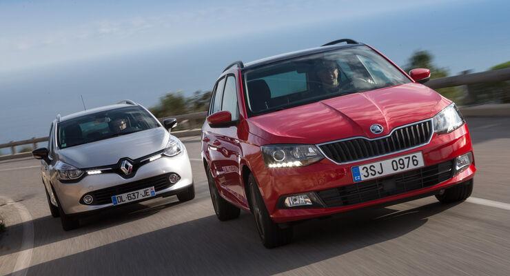 Renault Clio Grandtour, Skoda Fabia Combi, Frontansicht
