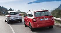 Renault Clio Grandtour, Skoda Fabia Combi, Heckansicht