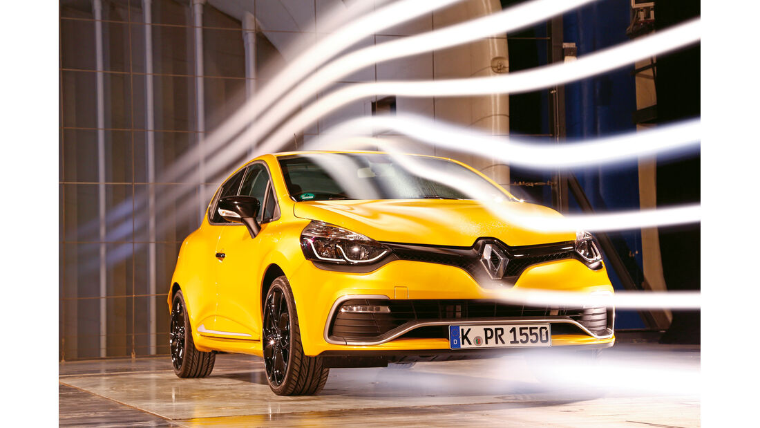 Renault Clio R.S, Frontansicht, Windkanal