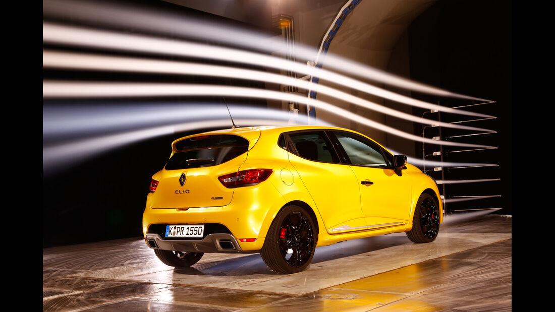 Renault Clio R.S, Heckansicht, Windkanal