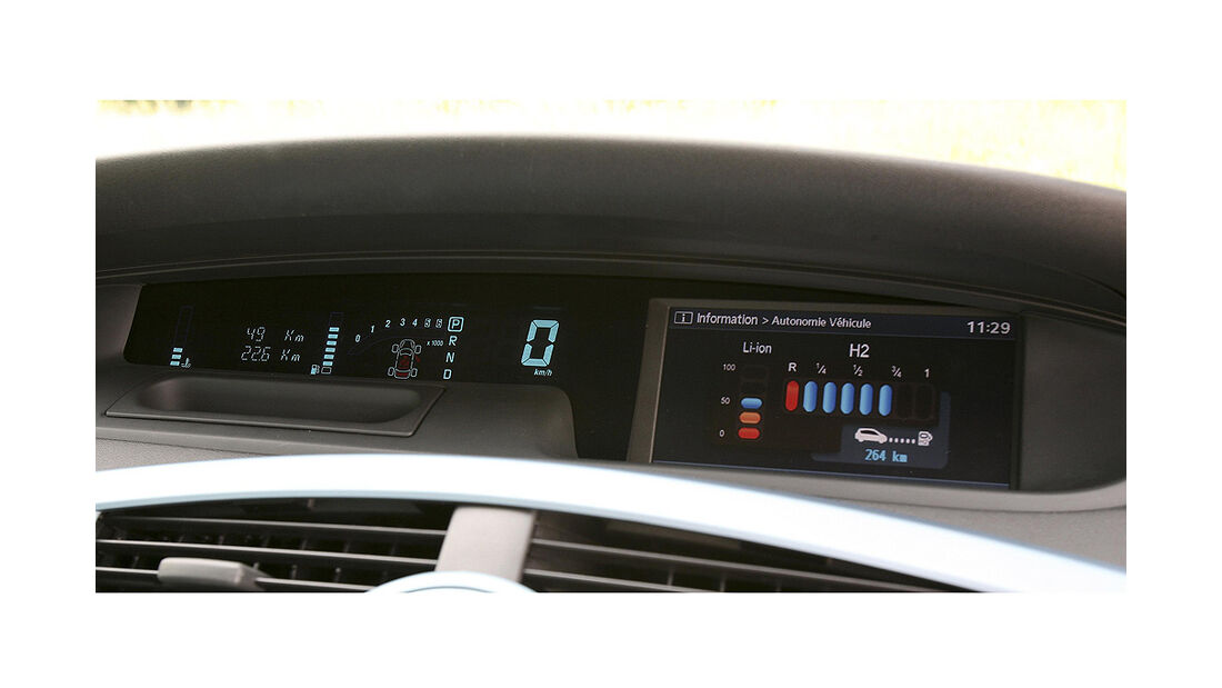 Renault Ökostudien, Renault Grand Scénic ZEV H2, Cockpit, Innenraum, Tacho