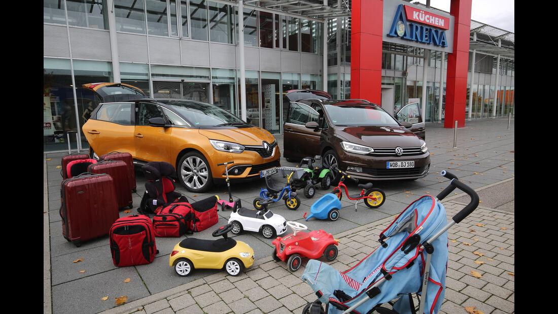 Renault Scénic dCi 130, VW Touran 2.0 TDI, Gepäck